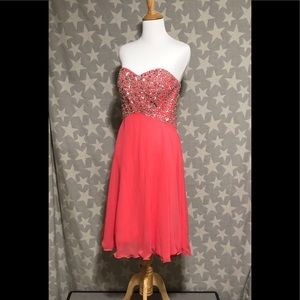 Dresses & Skirts - Coral Sequined Prom Chiffon Dress, Back Ribbon Tie